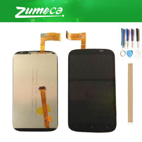 High Quality For HTC Desire X T328E LCD Display Screen+Touch Screen Digitizer Assembly Replacement Part Black Color+Tape&Tool