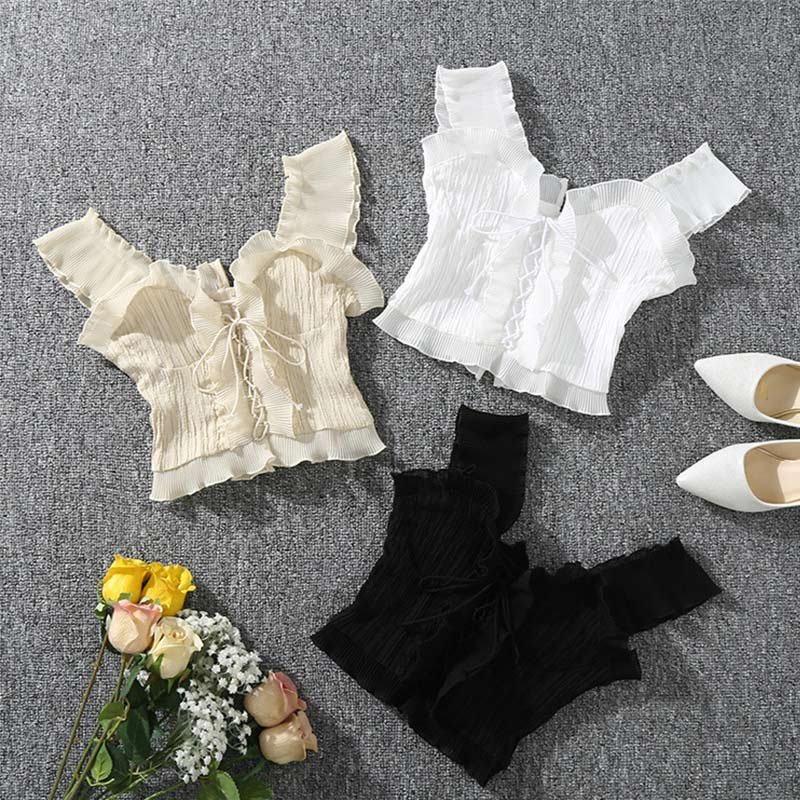 Ladies Camis Vests Tank-Tops Cropped-Top Lace-Up Ruffles-Crop Black Sexy Women's Summer