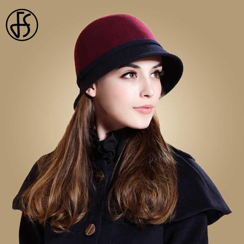 FS Ladies Vintage Wool Fedoras Winter Wine Red Blue Bowler Church Hat Women Elegant For Winter Female Cloche Hats Floppy Fedora