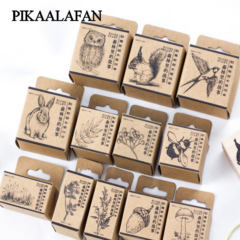PIKAALAFAN Story Of The Forest Gift Boxes Wood Stamp Scrapbook DIY Photo Album Card Decoration Craft Wooden Rubber  Stamp ToyPIKAALAFAN Story Of The Forest Gift Boxes Wood Stamp Scrapbook DIY Photo Album Card Decoration Craft Wooden Rubber  Stamp Toy