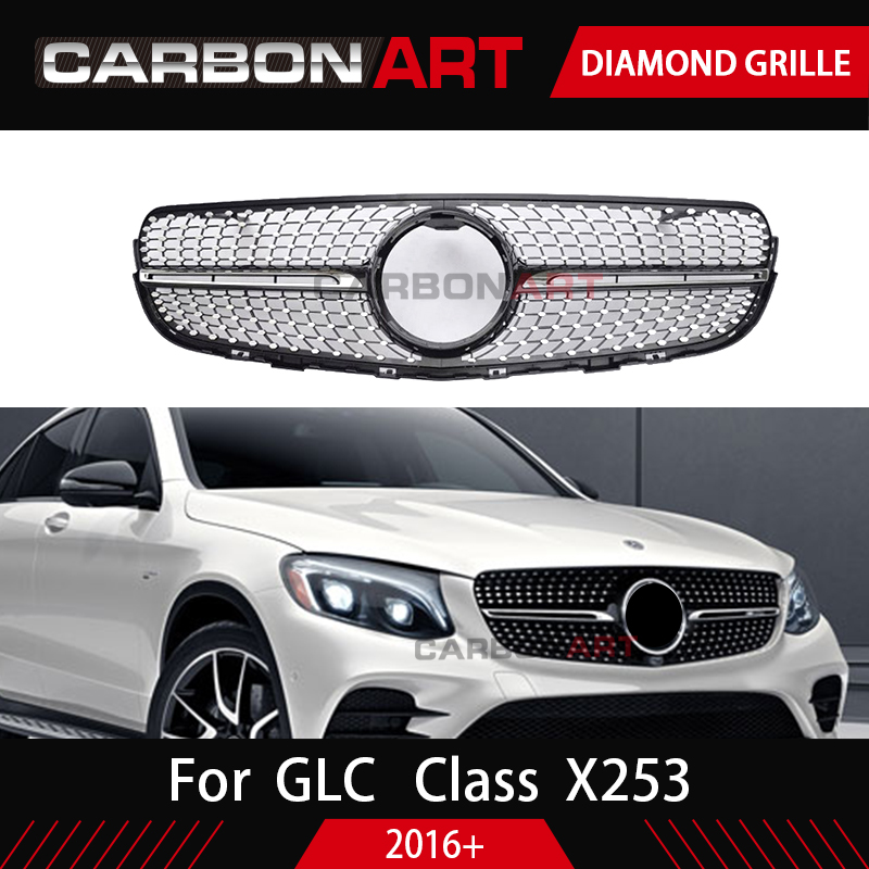 GLC class X253  grille Car Front diamond Grille for Mercedes GLC class X253 Silver Chrome black Design ABS replacement