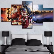 Modular Pictures 5 Piece Humor Christmas Claus Fantasy Moon Reindeer Painting Wall Art On Canvas HD Print Poster Home Decorative