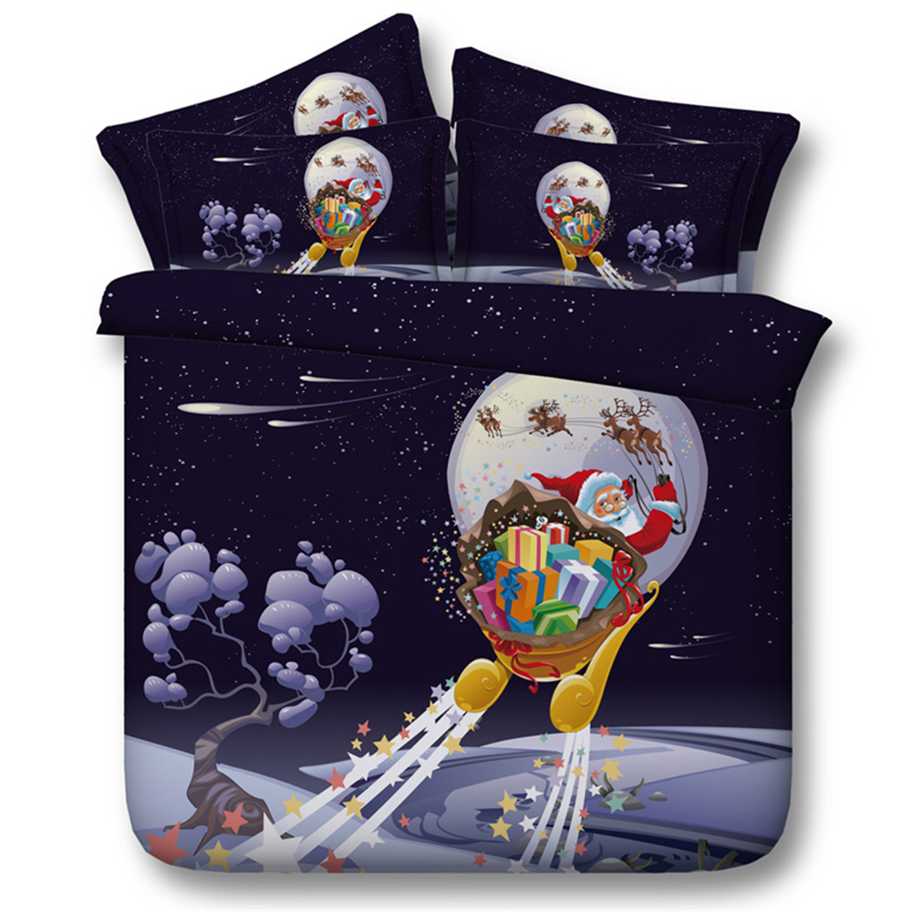 100% Cotton High Quality Merry Christmas Gift 3/4PC Bedding Sets Sowflake Santa Claus Printed Moon Cartoon Qulit Cover