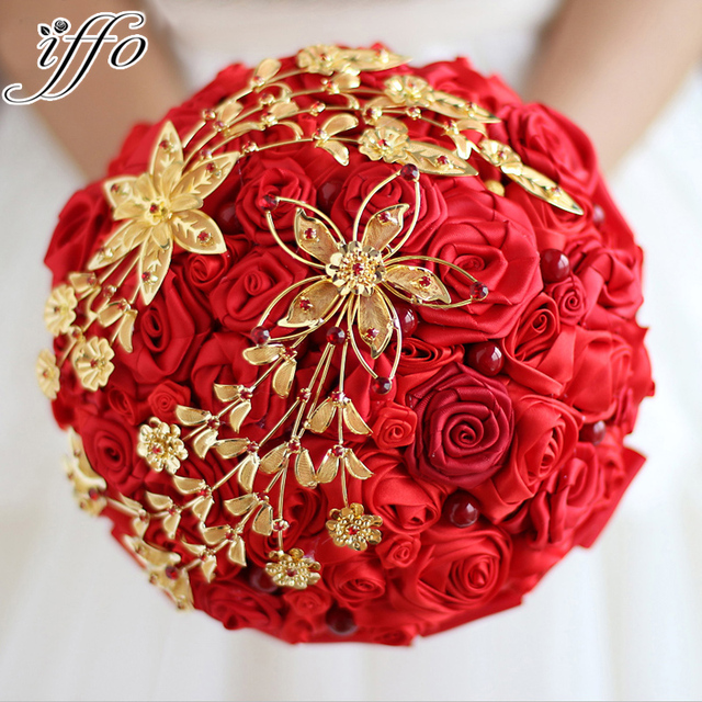 Wedding bouquet Bride holding flowers New arrival Red & Gold Wedding ...