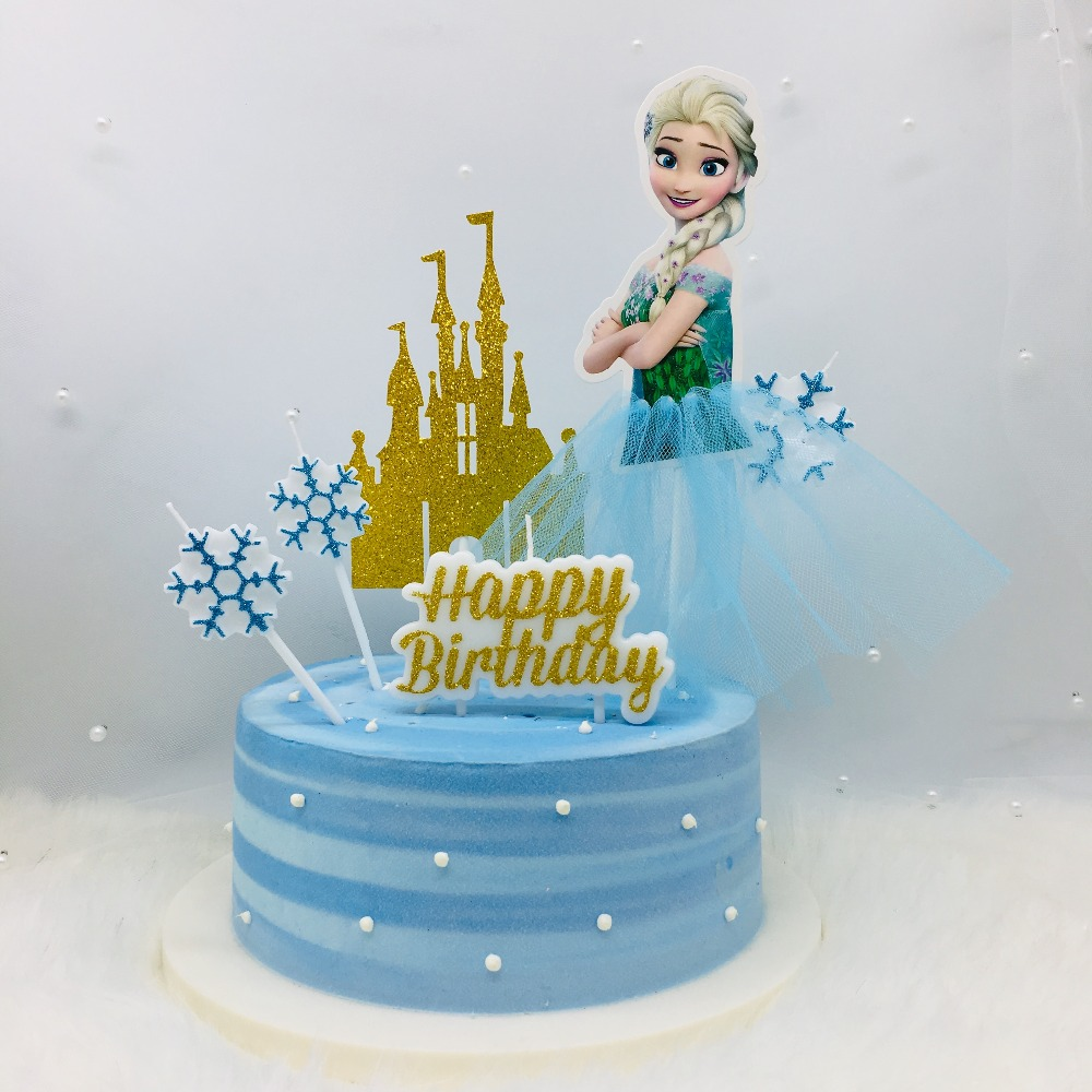 New Glitter Gold Silver Princess Happy Birthday Cake Candle Decorating Party Children Baby Decor
