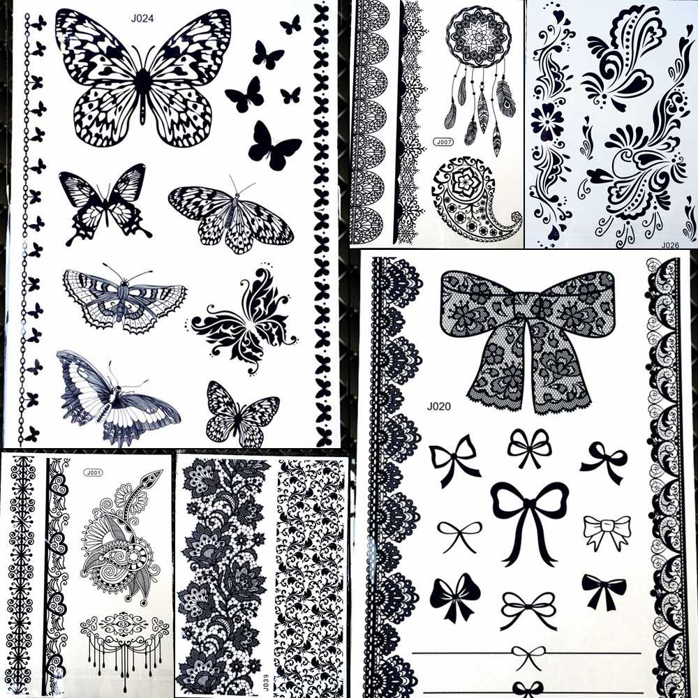 e9a7b7ffcb0e0 25 Designs Children Cartoon Butterfly Henna Temporary Tattoo Stickers Back  Neck Waterproof Fake Kids Black Tatoo