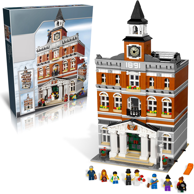 Lepin 15003 Town Hall building bricks blocks Toys for children boys Game Model Car Gift Compatible with Bela 10224 hot sembo block compatible lepin architecture city building blocks led light bricks apple flagship store toys for children gift