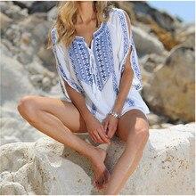 Plus Size Tunic Women Summer Beach Dress Swimwear Cover Up Sexy Cotton Embroidery Bikini Coverup Swim Skirt pareo plage sarongs