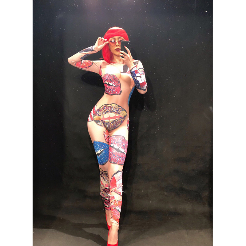 Lady's Kiss Lips Nightclub Sexy Stage Bodysuit Coloful 3D Printing Outfit Stage Dance Women Costume Singer Birthday Dance Wear