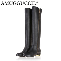 2017 New Arrival Plus Big Size 30 45 Black Leather Zip Fashion Sexy Knee High Autumn