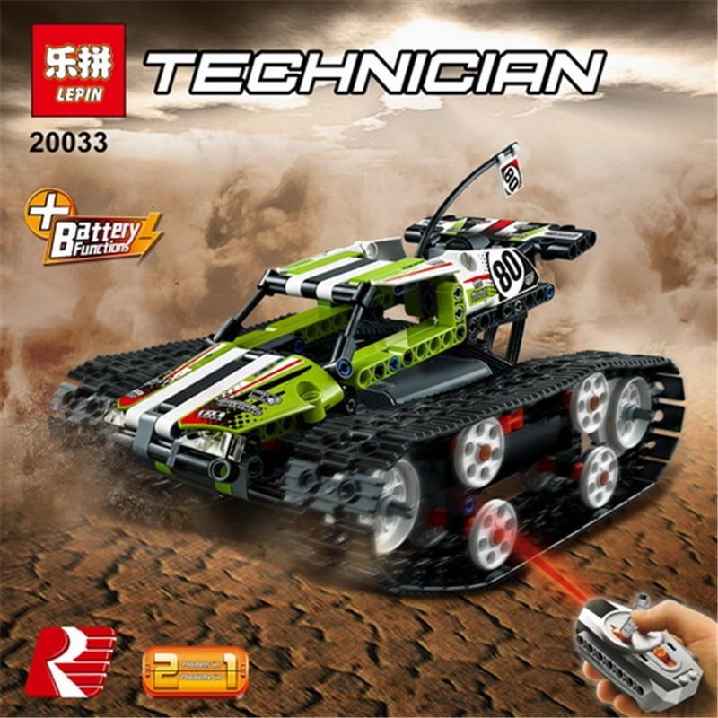 Lepin 20033 Technic RC TRACKED RACER bloques de construcción Motor eléctrico función de potencia modelo Brick Compatible con 42065 boy regalos
