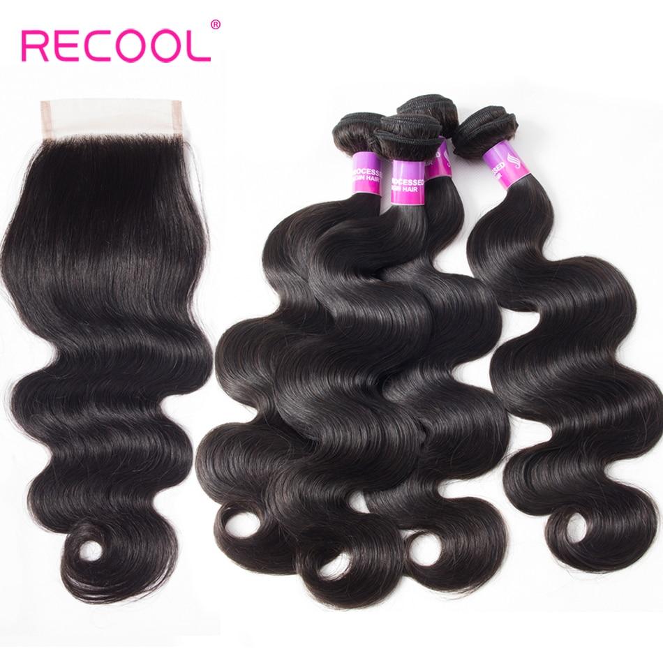 Recool Hair 4 Bundles With Closure Malaysian Body Wave Hair 100 Remy Human Hair Weave Bundles