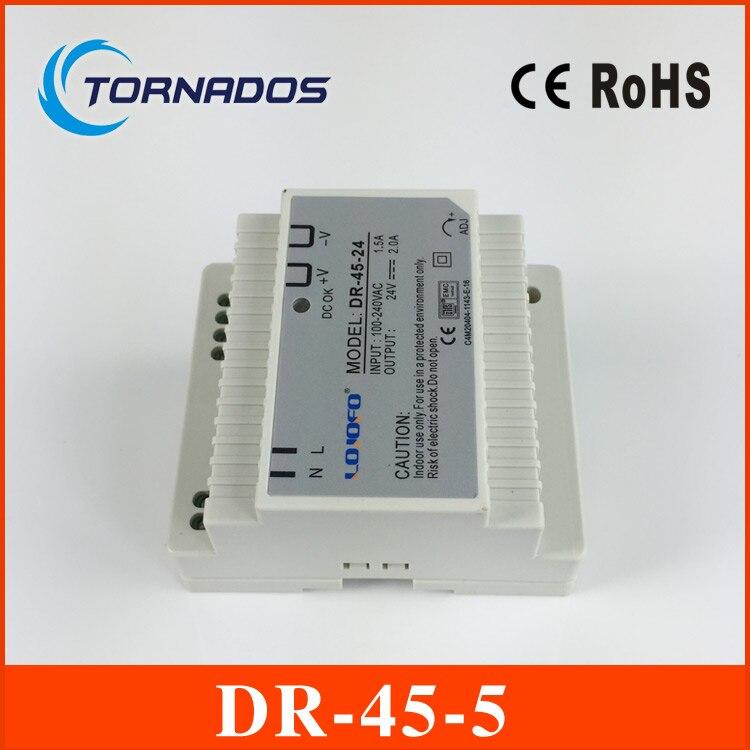 DR-45-5 LED Single Output Din Rail Power Supply Transformer DC 5V 5A Output SMPS dr 75 48 led single output din rail switching power supplies transformer dc 48v 1 6a output smps