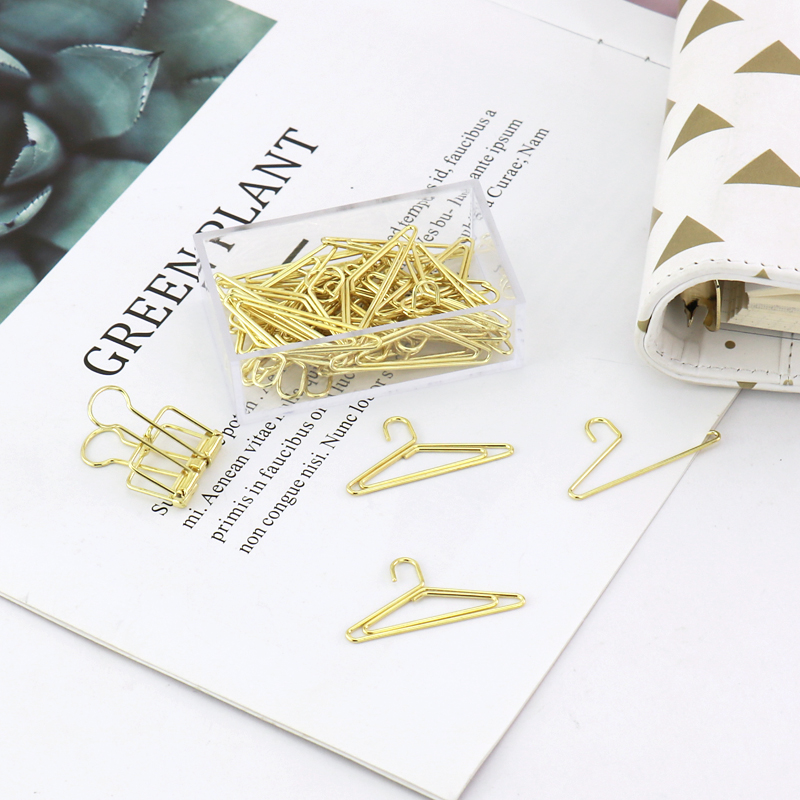 TUTU 30pcs/box Gold COLOR Electroplating Hangers Shape Paper Clips Funny Bookmark Marking Clips H0230