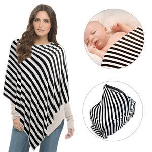 Casual Summer Fashion T-Shirt Female Pregnancy Breastfeeding Tops Round Neck Black and White Stripes Irregular Maternity Wear