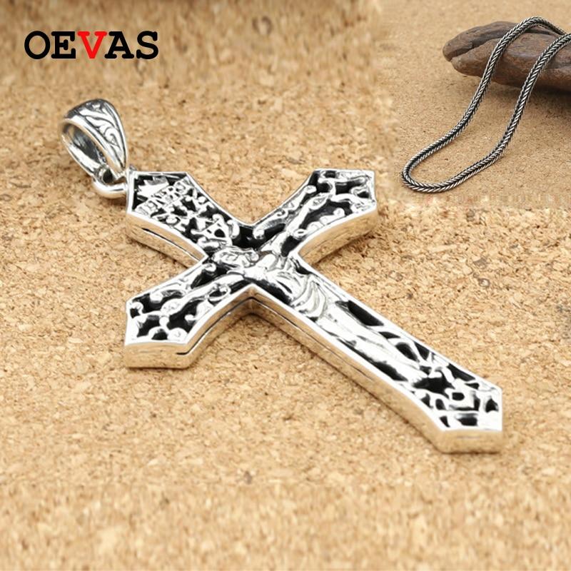 Solide 925 en argent Sterling croix pendentif collier marque de mode Vintage Thai argent classique jésus croix pendentifs collier bijoux