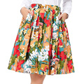 Mujeres falda de midi 2017 runway vintage faldas para mujer sexy pinup rockabilly 50 s 60 s polka dot algodón estampado de flores faldas de verano
