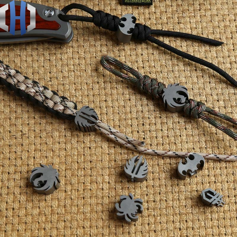 TC4 Titanium Alloy Knife Pendant Umbrella Rope Pendant Folding Knife Straight Knife Phone Paracord knife Beads