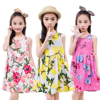 2018 Baby Girls Dress Brand Summer Beach Style Floral Print Party Dresses Girls Toddler Girl Clothing 2-13T  Kids Flower Dresses