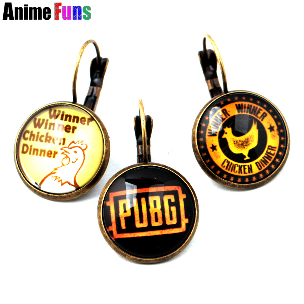 Game Playerunknowns Battlegrounds Logo Earring Winner Winner Chicken Dinner Letter Glass Vintage Pendant Charm Cosplay Jewelry