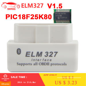 For Android OBD2 ELM327 v1.5 with PIC18F25K80 chip Bluetooth 2.0 Car Diagnostic Tool