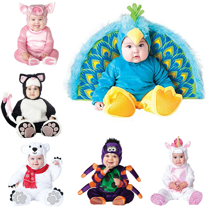 2019 New Design Boys Christmas Halloween Costumes Infant Baby Girls Rompers Jumpsuits Peacock Animal Cosplay Toddlers Clothes