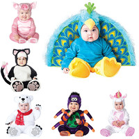 2018 New design Boys Christmas Halloween Costumes Infant Baby Girls Rompers Jumpsuits Peacock Animal Cosplay Toddlers Clothes