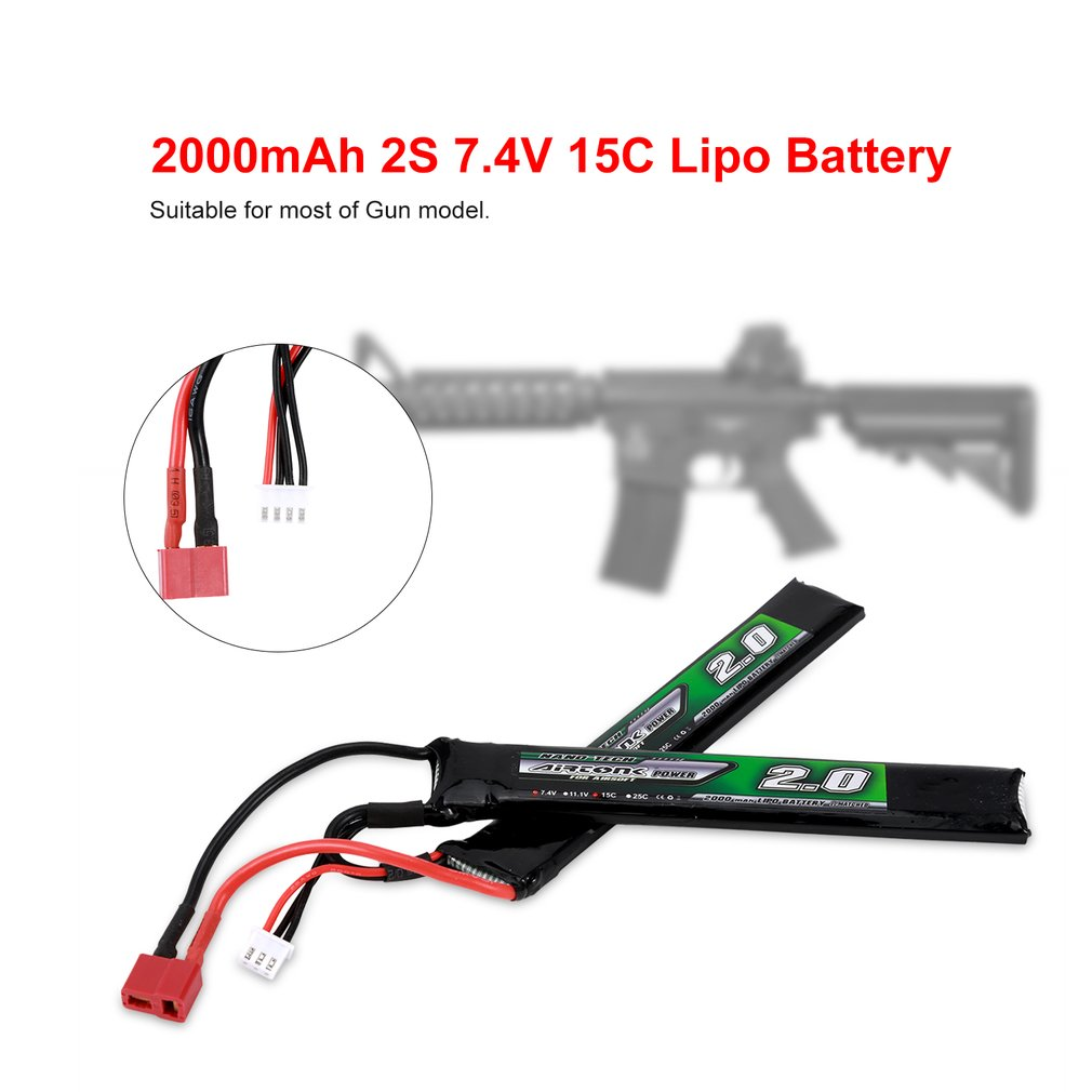 New Airtonk Power 7.4V <font><b>2000mAh</b></font> 15C <font><b>2S</b></font> <font><b>Lipo</b></font> Battery Mini Tamiya Plug Rechargeable for Gun Model Toy Boys Gift RC Battery image