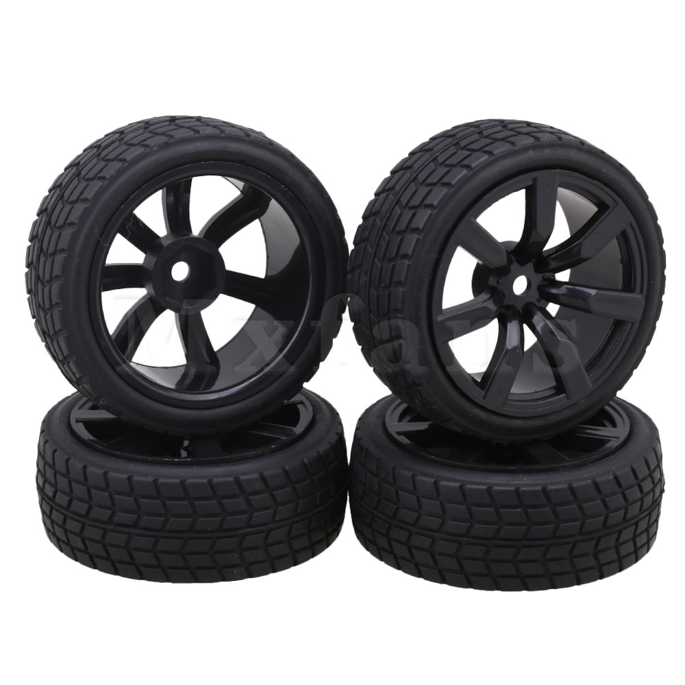 Mxfans 7 Spoke Wheels Rims Square Pattern Rubber Tyre Model Vehicle Parts for RC 1:10 On-Road Racing Car Pack of 4 mxfans 4 pcs aluminum alloy wheel felloe rc 1 10 on road rimmer black wheel rims
