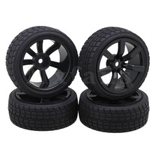Mxfans 7 Spoke Wheels Rims Square Pattern Rubber Tyre Model Vehicle Parts for RC 1 10