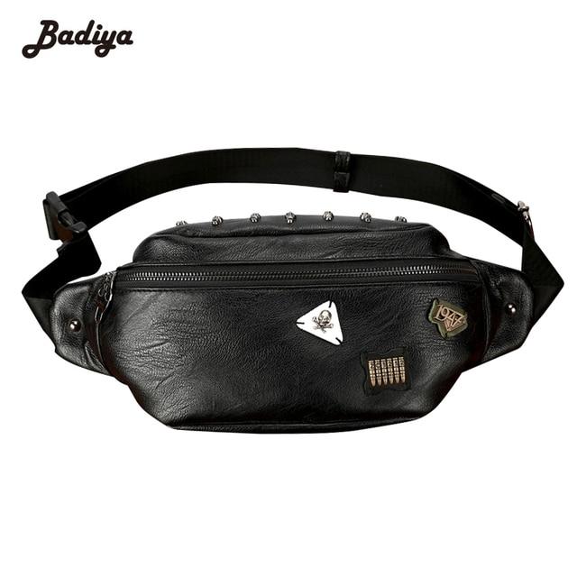 ebc885175fa1 Fashion Waist Bag Men Tide Skull Rivet Badge PU Leather Casual Travel Belt  Bag Black Man