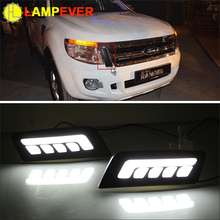 Lampever Car LED DRL For Ford Ranger 2012 2013 2014 2015 High Power Xenon White Fog Cover Daytiem Running Lights Kits