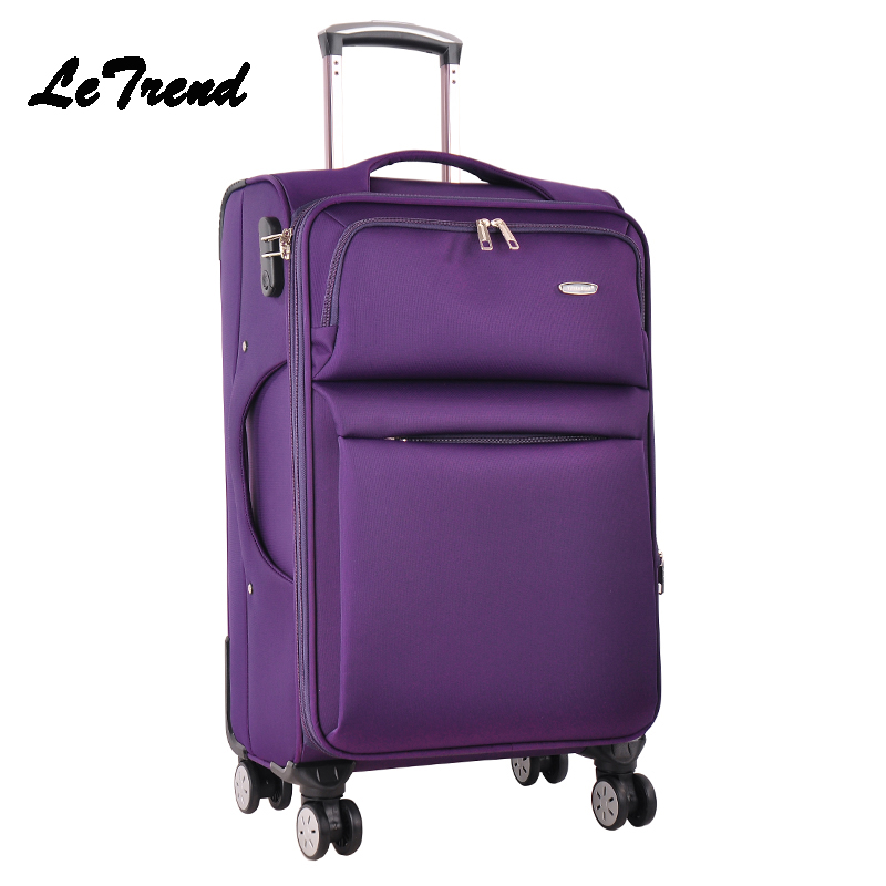 Letrend Men Business Travel Bag Spinner Rolling Luggage Wheel Suitcase 24 inch Oxford Trolley 20 inch Student Carry On Box Women