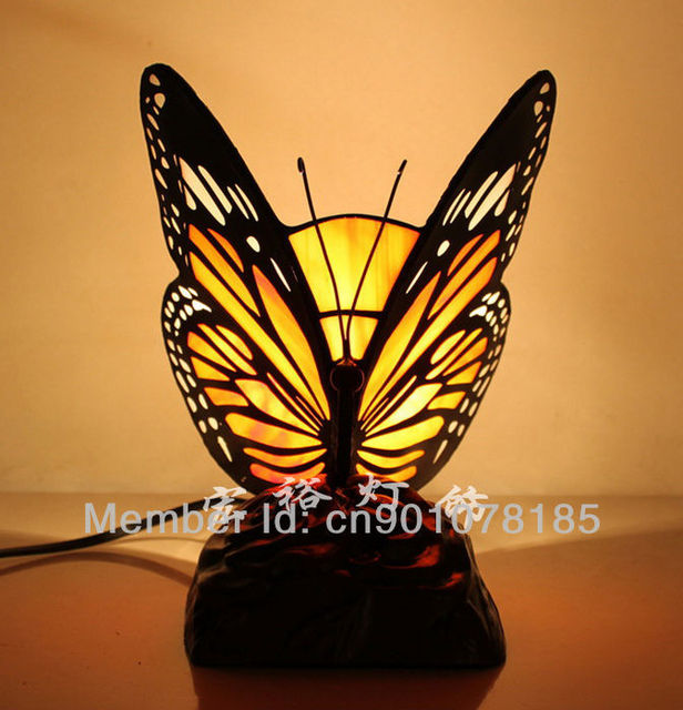 Tiffany Style Accent Lamp Butterfly Table Lamp Home Decorative