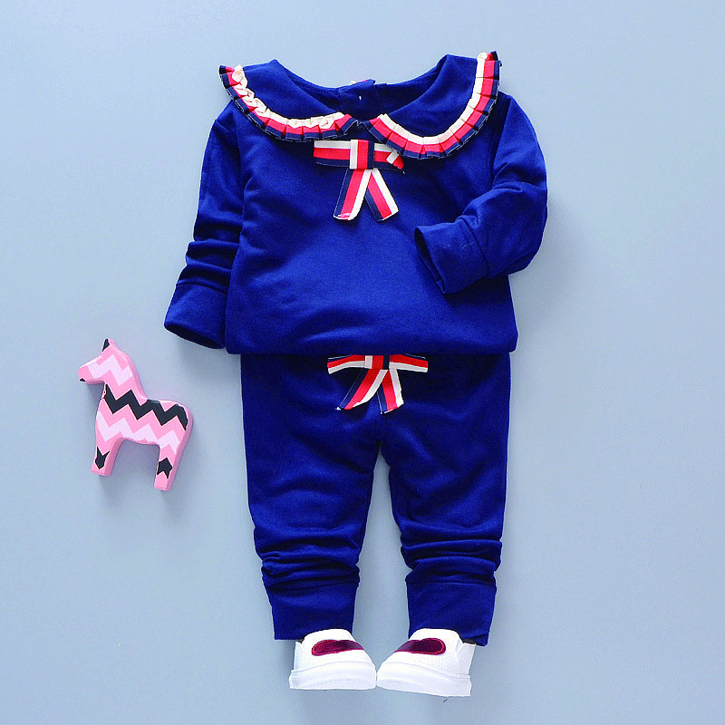 Children Cute Girls New Autumn Cotton Long Sleeve Top Turndown Collar Two piece Water Military Uniform Suit 0 4Y Newborn Baby in Clothing Sets from Mother Kids