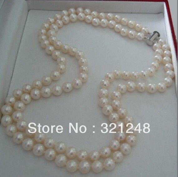 2355e5b9eb3e Las compras libres DIY 2 filas 7-8mm cultivadas de agua dulce collar de  perlas GE4549