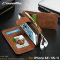 2016 CaseMe Luxo Magnético 2 em 1 Estojo De Couro Genuíno para iphone se 5s 5 multifuncional virar caso de telefone carteira com cartão Solt
