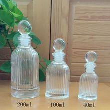5pcs/lot 40ml/100ml/200ml Aroma Diffuser Fragrance Vertical stripe Glass Bottle