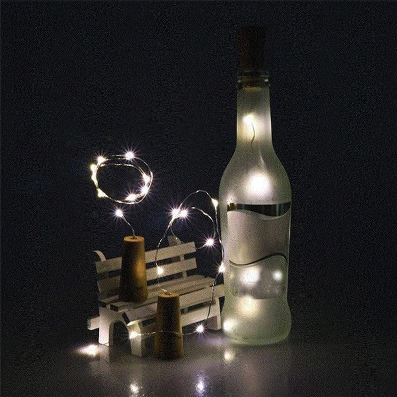 50pcs 2M LED Garland Copper Wire String Lights 20 LEDs Bottle Stopper Fairy Lights for Holiday