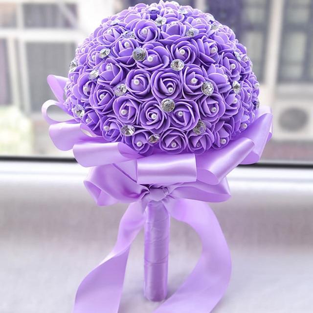 New 2016 Wedding Flowers Bridal Bridesmaid Bouquets buque de flores Artificial Rose Sparkle Crystal Wedding Bouquet