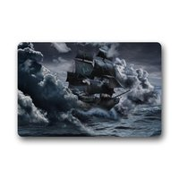 Vintage Sailboat Vessel Sailing Boat Pirate Ship On The Sea Machine Washable Non Slip Welcome Mat