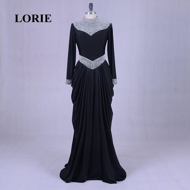 Lorie Evening Dress With Sleeves Long Black Muslim Prom Dress 2017