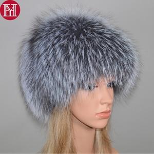 Image 1 - 2020 New Luxury 100% Natural Real Fox Fur Hat Women Winter Knitted Real Fox Fur Bomber Cap Girls Warm Soft Fox Fur Beanies Hats