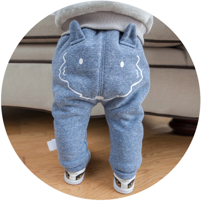 Recém-nascidos Calças PP Estilo Coreano fox Dos Desenhos Animados imprimir Harlan calças Pão Calças Meninos E Meninas de Algodão Inverno Outono Calça Casual