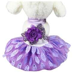 IALJ топ платье новая собака высококачественные свадебные блестящие Листья Свадебные Pet юбка фиолетовый S