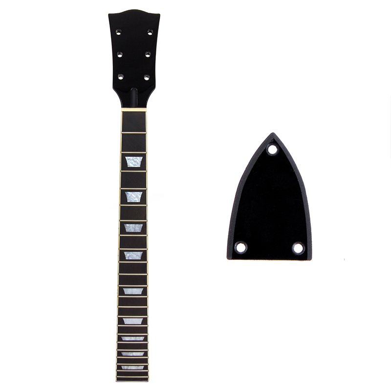 Kmise Electric Guitar Neck for LP Parts Replacement 22 Fret Black Gloss Set In