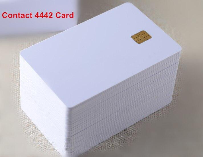 imágenes para (100 unids/lote) Contacto ISO7816 SLE 4442 Viruta PVC Tarjeta Inteligente IC