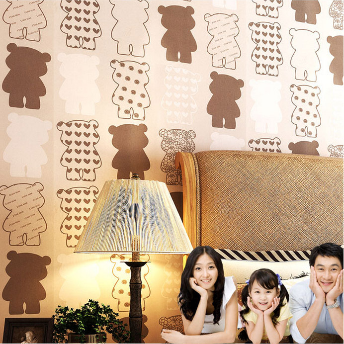 Cute brown bear wall paper for children room wall decorative and kids paper parede