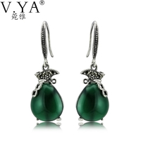 100% Real 925 Sterling Silver Earrings for Women High Quality Vintage Thai Silver Green Stone S925 Solid Silver Earring CE184