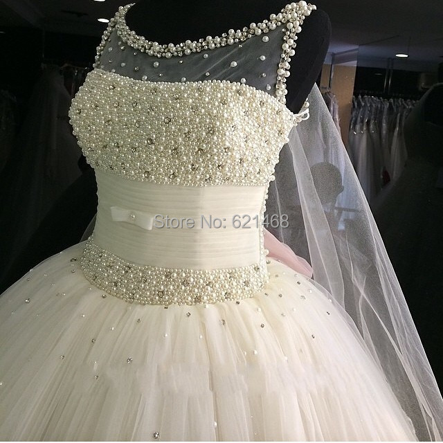 Gorgeous Vestido de renda Pearls Beaded Puffy Ball gown Princess ...